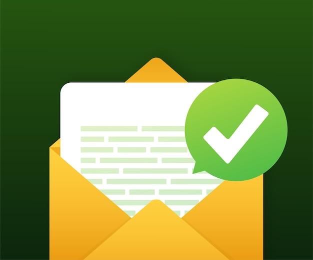 Otwarta koperta i dokument z zielonym znacznikiem wyboru
