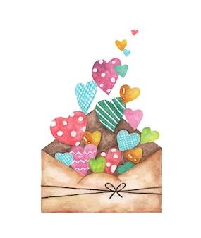 Otwarta koperta i wiele uroczych serduszek, love letter hearts romance. akwarela ilustracja.