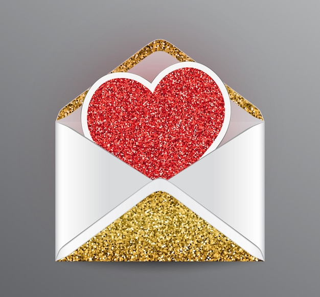 Otwarta koperta ze złotymi błyszczącymi elementami i czerwonym błyszczącym sercem