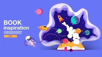 Otwarta książka, tło przestrzeni, szkoła, czytanie i nauka