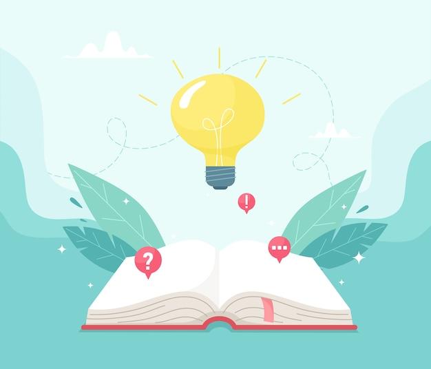 Otwarta książka i żarówka na niebie. wiedza i udana koncepcja uczenia się. ilustracja w stylu płaski.