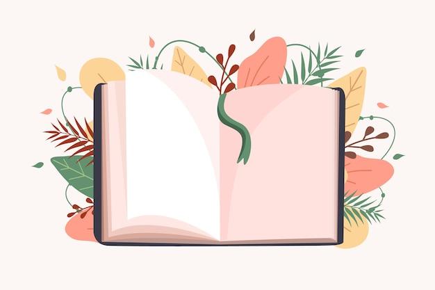 Otwarta książka. koncepcja edukacji i czytania.