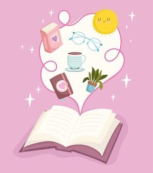Otwarta książka, kreatywna ilustracja literatury