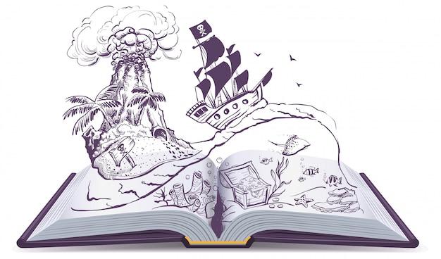 Otwarta książka o piratach i skarbach. pirat na żaglówce pływa na falach. wyspa skarbów
