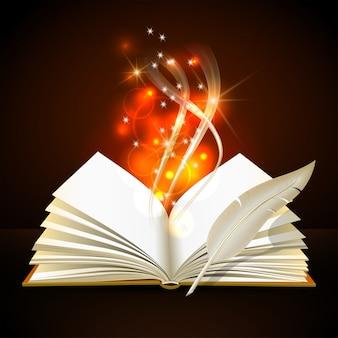 Otwarta książka z mistycznym jasnym światłem i piórkiem