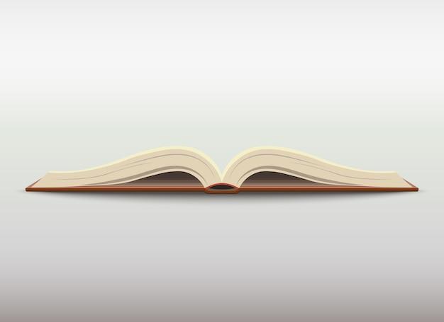 Otwarta książka z pustymi stronami. ilustracja edukacji szkolnej.