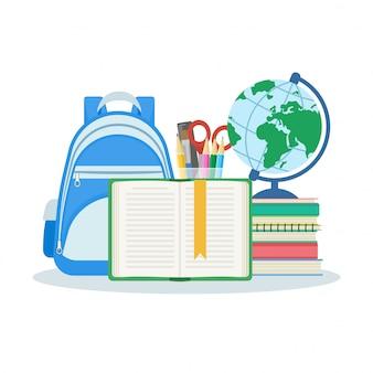 Otwarta książka z zakładką, stosem książek i zeszytów, torbą, kulą ziemską, zestawem artykułów piśmiennych. ilustracja na białym tle. koncepcja edukacji i uczenia się. płaska konstrukcja.