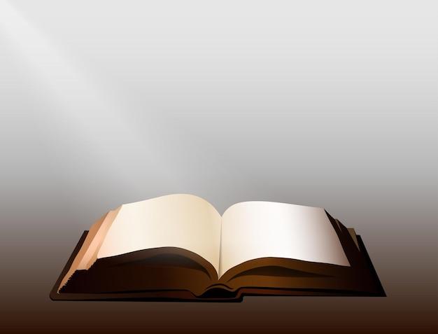 Otwarta księga, która świeci światłem w ciemności