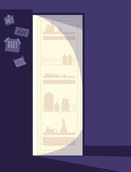 Otwarta lodówka półpłaska ilustracja