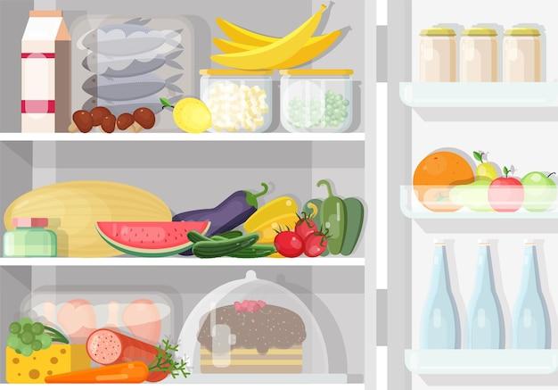 Otwarta lodówka z półkami pełnymi różnych codziennych potraw