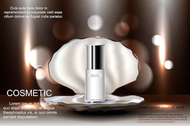 Otwarta muszla z perłą z butelką kosmetyków do pielęgnacji skóry. reklama szablonowa, projekt, plakat i inne.