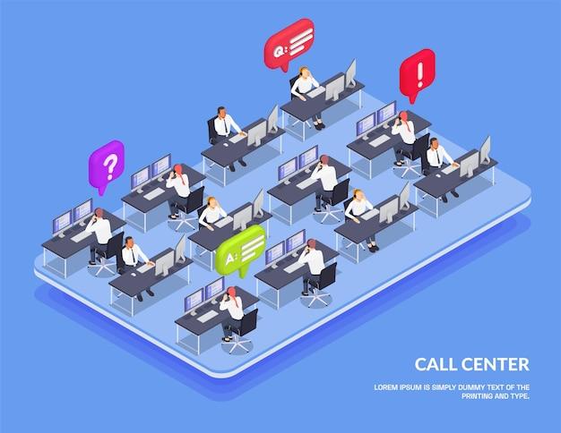 Otwarta przestrzeń obsługi klienta izometryczna i kolorowa kompozycja z operatorami online call center i czat