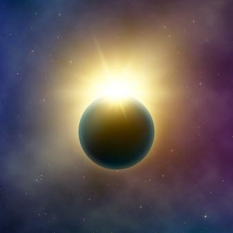 Otwarta przestrzeń. realistyczne piękne zaćmienie słońca. abstrakcyjny efekt zaćmienia gwiazdy. tło