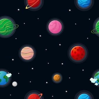 Otwarta przestrzeń wzór planety z konstelacjami i gwiazdami. płaski styl kreskówki