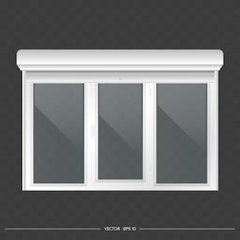 Otwarta roleta na oknie euro. realistyczne okno euro z roletami wektor.