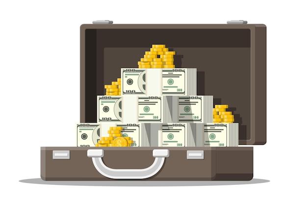 Otwarta skórzana walizka pełna pieniędzy. stosy banknotów dolarowych i złotych monet w etui.