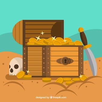 Otwarta skrzynia skarbów o płaskiej konstrukcji