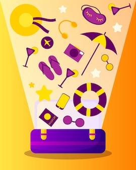 Otwarta walizka z przedmiotami do podróży i wypoczynku w stylu kreskówkowym. światło z torby. koncepcja podróży