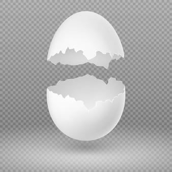 Otwarte białe jajko z ilustracji wektorowych złamane powłoki na białym tle. skorupiaki kruche, łamane, otwarte i popękane owalne jajko