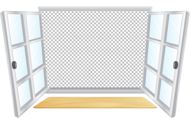 Otwarte białe okno z przezroczystym tłem