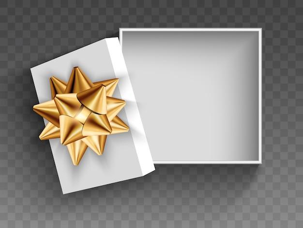 Otwarte białe okrągłe pudełko prezentowe ze złotą kokardą. ilustracja na białym tle.