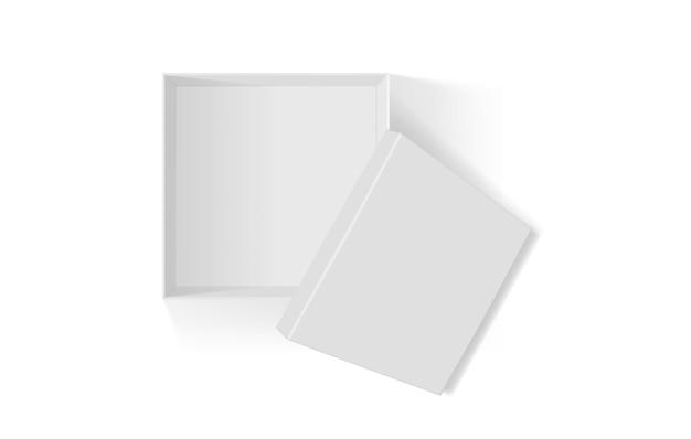 Otwarte białe pudełko na białym tle