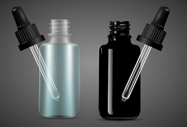 Otwarte butelki z kroplomierzem z pipetą do produktów medycznych