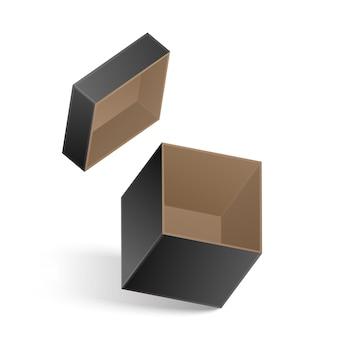 Otwarte czarne pudełko na białym tle. ilustracja