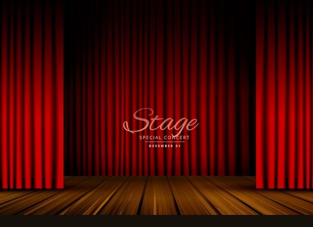 Otwarte czerwone zasłony scenę teatru lub opery tła z drewnianą podłogą