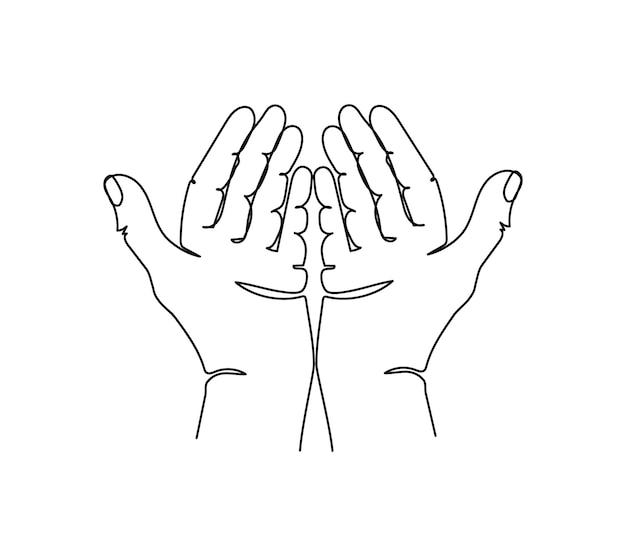 Otwarte dłonie jedna linia sztuki ciągłe rysowanie linii ręki gestu daje gest;