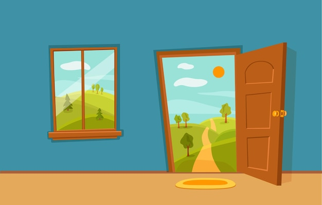 Otwarte drzwi i okna kreskówka kolorowa ilustracja wektorowa z krajobrazem doliny letniego słońca