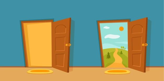 Otwarte drzwi kreskówka kolorowy wektor ilustracja z doliny lato słońce krajobraz z drogą, drzewa zielone pole