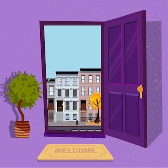 Otwarte drzwi na jesień słoneczny widok z żółtymi drzewami. trzy-cztery-piętrowe nierówne kolorowe domy. uliczny pejzaż miejski.