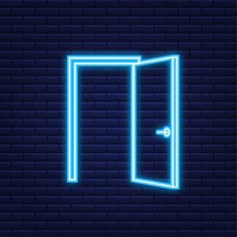 Otwarte drzwi. projektowanie wnętrz. neonowa ikona. pomysł na biznes. przedni widok. domowe biuro. ilustracja wektorowa.