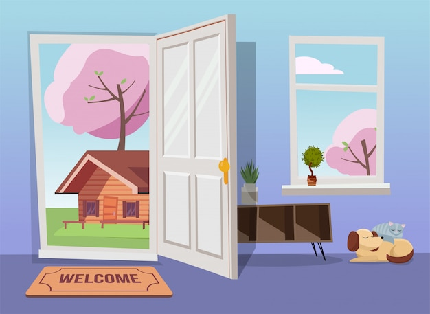Otwarte drzwi w widok wiosna krajobraz z kwitnących drzew.