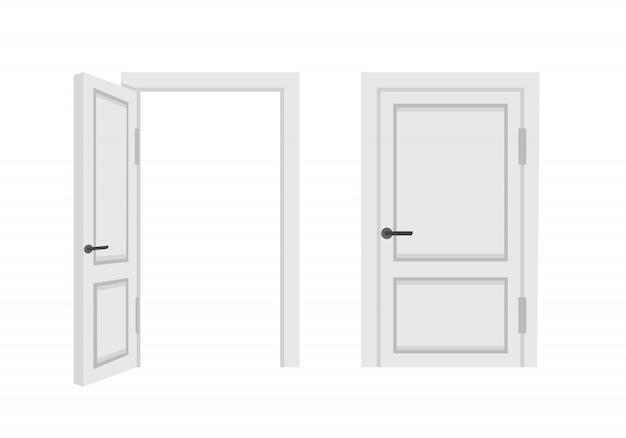 Otwarte i zamknięte białe drzwi wejściowe