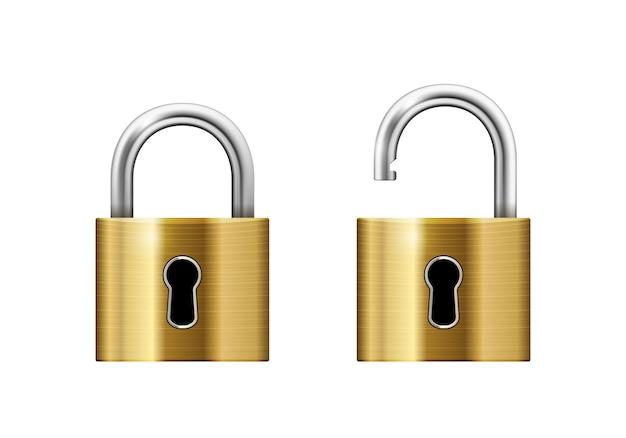 Otwarte i zamknięte kłódki z dziurką od klucza na białym tle
