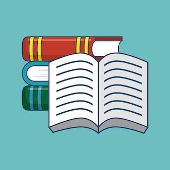 Otwarte i zamknięte książki na tle turkusowy. ilustracji wektorowych.