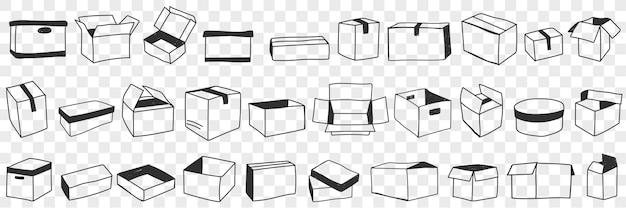 Otwarte i zamknięte pudełka doodle zestaw