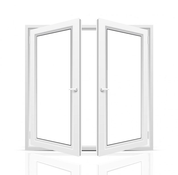 Otwarte okno na białym tle