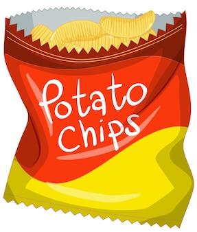 Otwarte opakowanie chipsów ziemniaczanych na białym tle