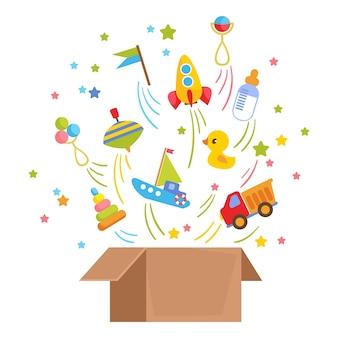 Otwarte opakowanie kartonowe z zestawem zabawek dla dzieci w środku transport rakieta łódka maninka