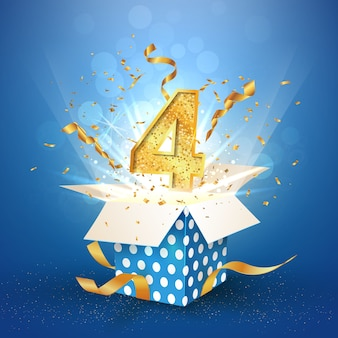 Otwarte pudełko upominkowe z okazji czterech lat w kropki z konfetti eksplozji