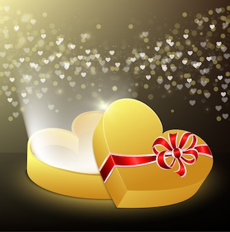 Otwarte pudełko w kształcie serca z latającymi sercami