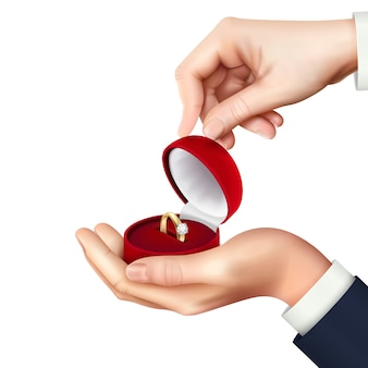 Otwarte pudełko z biżuterią z obrączką zaręczynową w ręku realistyczna kompozycja na prezent ślubny