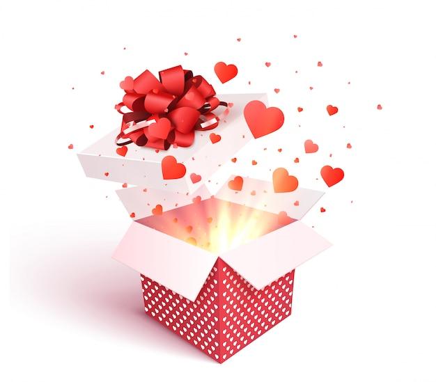 Otwarte pudełko z eksplozją konfetti w kształcie serca. 3d walentynki. romantyczny prezent