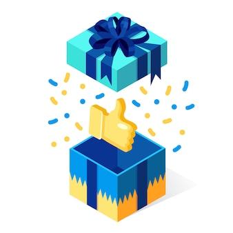 Otwarte pudełko z kciuki do góry na białym tle. pakiet izometryczny 3d, niespodzianka z konfetti. referencje, opinie, koncepcja recenzji klienta. projekt kreskówki