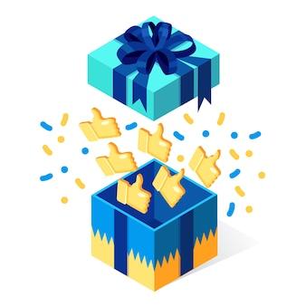 Otwarte pudełko z kciuki do góry na białym tle. pakiet izometryczny, niespodzianka konfetti. referencje, opinie, koncepcja recenzji klienta.
