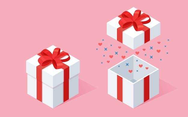Otwarte pudełko z kokardą, wstążką na różowym tle. izometryczny czerwony pakiet, niespodzianka konfetti. wyprzedaż, zakupy. wakacje, święta, urodziny.