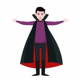 Otwarte ramiona wampira. wektor męski charakter w stroju draculi